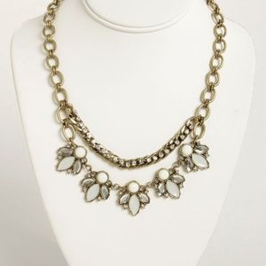 Antique Crystal Studded Chain Necklace